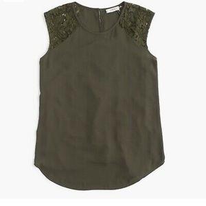 J.Crew Women's Green Floral Lace-shoulder Top